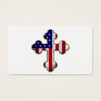 Bandera americana Cross2 Tarjetas De Visita
