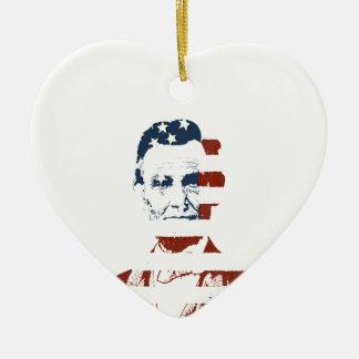 Bandera americana de Abraham Lincoln del vintage Adorno De Cerámica En Forma De Corazón