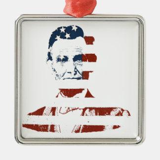 Bandera americana de Abraham Lincoln del vintage Adorno Cuadrado Plateado