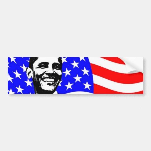 Bandera americana de Barack Obama Pegatina De Parachoque