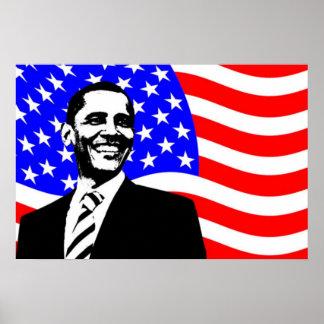Bandera americana de Barack Obama Posters