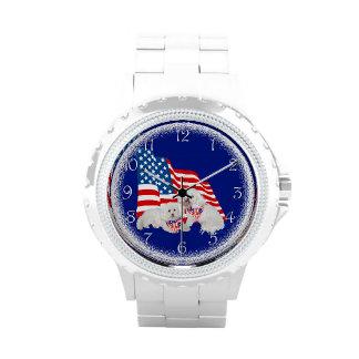 Bandera americana de Bichon Frise Reloj De Mano