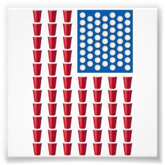 Bandera americana de consumición del juego de Pong Cojinete
