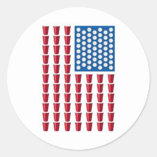 Bandera americana de consumición del juego de Pong Etiqueta Redonda