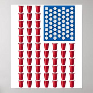 Bandera americana de consumición del juego de Pong Póster