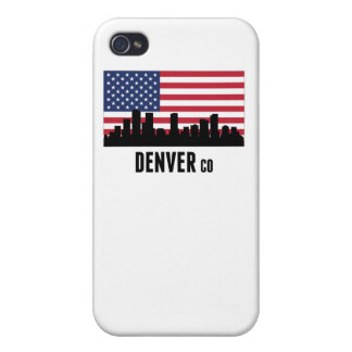 Bandera americana de Denver CO iPhone 4 Funda
