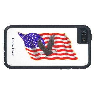 Bandera americana de Eagle calvo iPhone 5 Case-Mate Protector