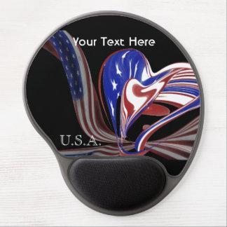 Bandera americana de encargo del corazón y fondo alfombrilla gel