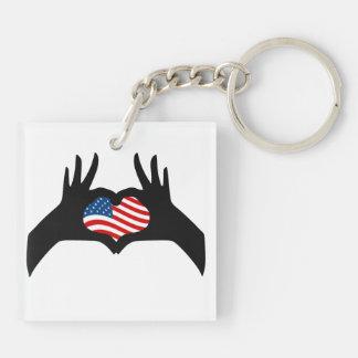 Bandera americana de Estados Unidos del símbolo de Llavero Cuadrado Acrílico A Doble Cara