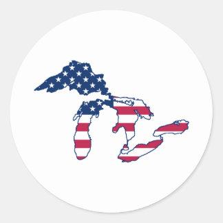 Bandera americana de Great Lakes Pegatina Redonda