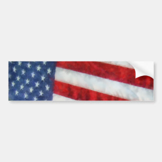 Bandera americana de la acuarela etiqueta de parachoque