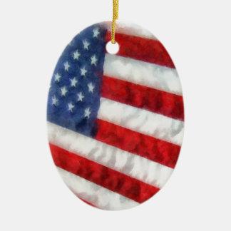 Bandera americana de la acuarela ornamento para arbol de navidad
