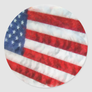 Bandera americana de la acuarela pegatina redonda