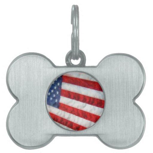 Bandera americana de la acuarela placas de mascota