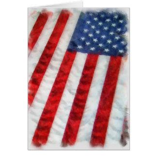 Bandera americana de la acuarela tarjetón