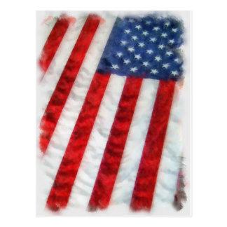 Bandera americana de la acuarela postal