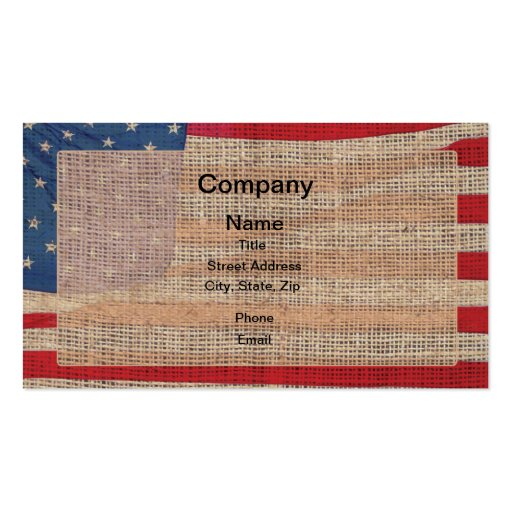 Bandera americana de la arpillera tarjetas de visita