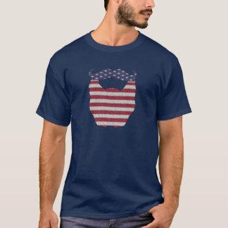 Bandera americana de la barba y del bigote playera
