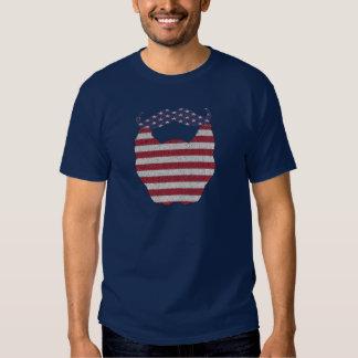 Bandera americana de la barba y del bigote remeras