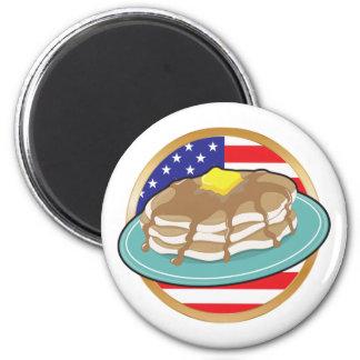 Bandera americana de la crepe imán redondo 5 cm