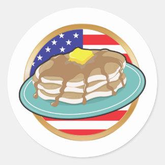 Bandera americana de la crepe pegatina redonda