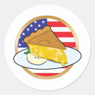 Bandera americana de la empanada de Apple Etiquetas Redondas