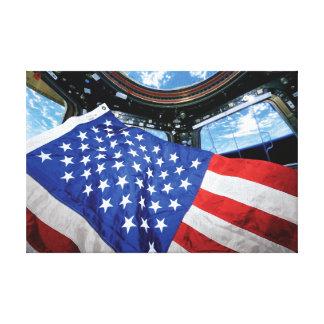 Bandera americana de la estación espacial con lienzo envuelto para galerías