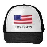 Bandera americana de la fiesta del té gorro