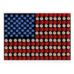 Bandera americana de la flor tarjeta postal