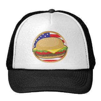 Bandera americana de la hamburguesa gorras
