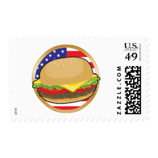 Bandera americana de la hamburguesa franqueo