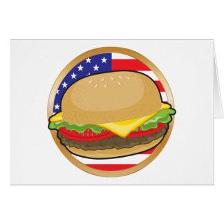 Bandera americana de la hamburguesa felicitación