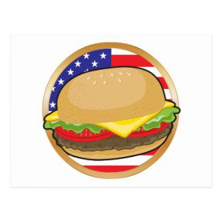 Bandera americana de la hamburguesa tarjetas postales