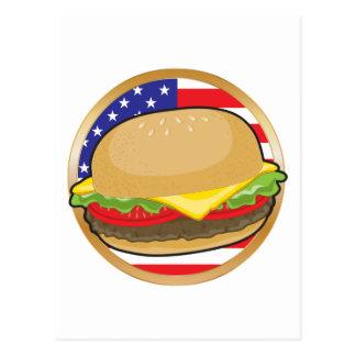 Bandera americana de la hamburguesa postal