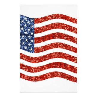 bandera americana de la lentejuela personalized stationery