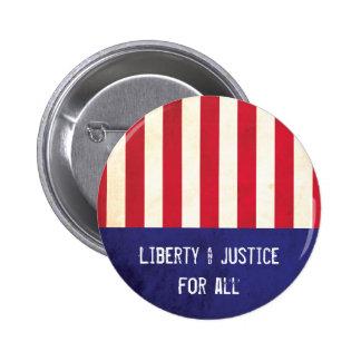 Bandera americana de la libertad y de la justicia pin redondo de 2 pulgadas