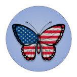 Bandera americana de la mariposa en azul