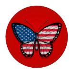 Bandera americana de la mariposa en rojo