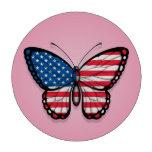 Bandera americana de la mariposa en rosa
