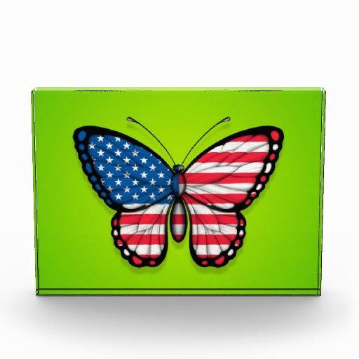 Bandera americana de la mariposa en verde