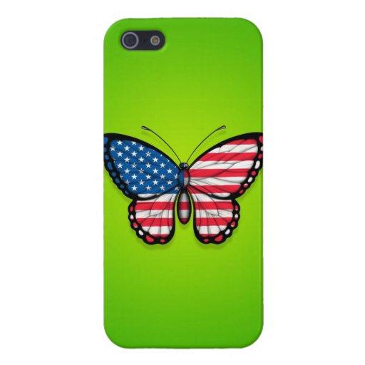 Bandera americana de la mariposa en verde iPhone 5 cárcasa