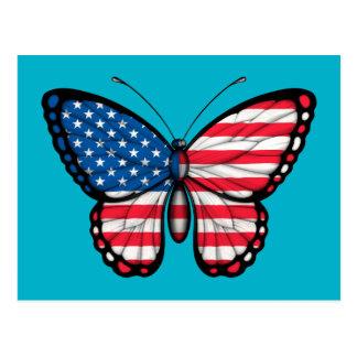 Bandera americana de la mariposa tarjeta postal