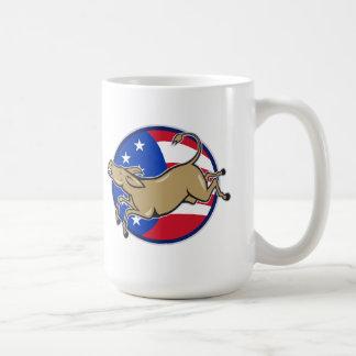 Bandera americana de la mascota del burro de Demóc Tazas