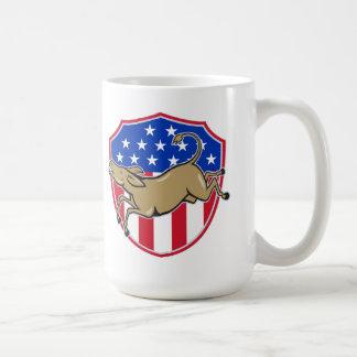 Bandera americana de la mascota del burro de Demóc Taza De Café