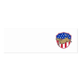 Bandera americana de la mascota del burro de tarjetas de visita mini