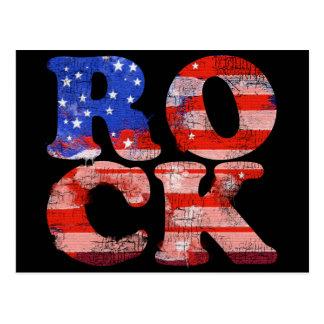 bandera americana de la palabra de la música rock postales