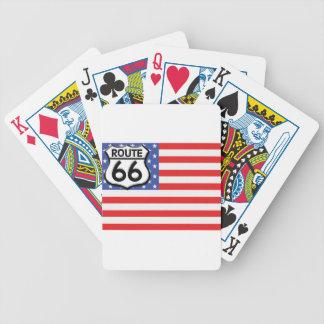 Bandera americana de la ruta 66 patriótica baraja de cartas