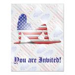 Bandera americana de la silueta del chica invitación 10,8 x 13,9 cm