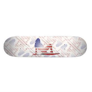 Bandera americana de la silueta del chica monopatín personalizado