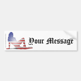 Bandera americana de la silueta del chica pegatina para auto